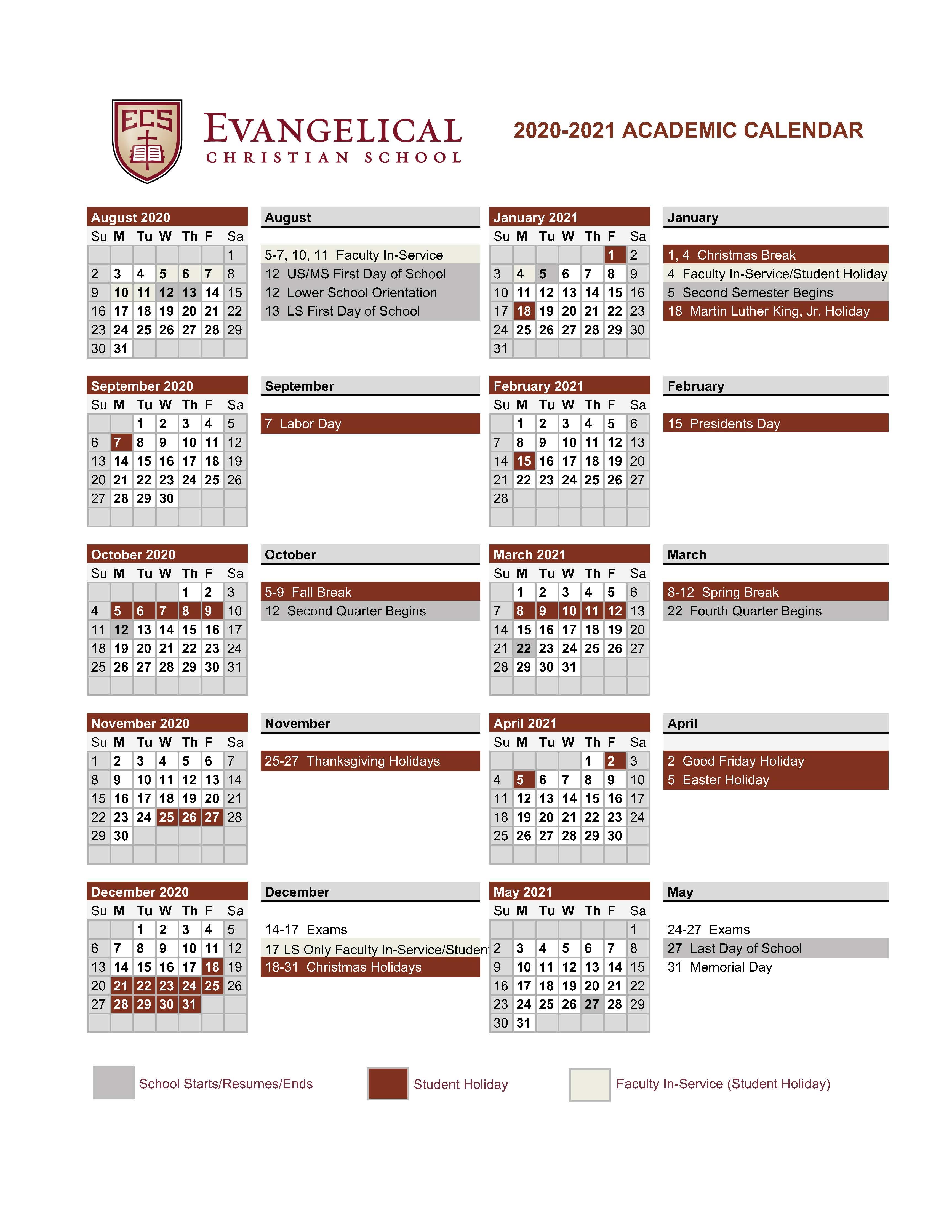Scc Academic Calendar 2021 LS News   Evangelical Christian School